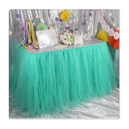 baby shower decorations for girls UK - Tulle Table Skirts Cover Table Cloth for Girl Princess Party, Baby Shower, Slumber Party, Wedding, Birthday Parties and Home Decoration-Beau