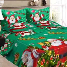 Discount 3d christmas bedding sets - Polyester Bed Sheet Fitted Flat Sheets Christmas Santa Bedding Set With 3D Printed Duvet Cover Pillowcases Covers