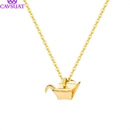 $enCountryForm.capitalKeyWord UK - Unique Origami Cranes Charm Necklaces Stainless Steel Chain Women Girls Lucky Fly Bird Pendant Animal Jewelry Friendship Gifts