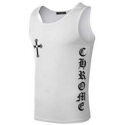 New t shirts everyday online shopping - Cross Printing Summer New Fashion T shirt Men Sleeveless Black White Casual Men Tank Tops