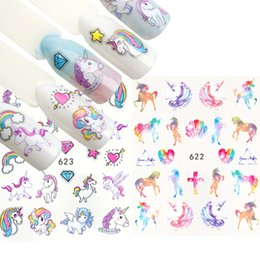 $enCountryForm.capitalKeyWord NZ - 2pcs Mixed Cartoon Unicorn Nail Sticker Water Transfer Decals Watermark Slider Gel Nail Art Decoration Manicure Tools ZJT3028