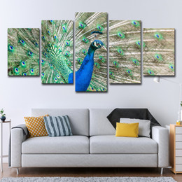 beautiful pictures animals NZ - Canvas Animal Poster Home Decor Wall Art HD Prints 5 Pieces Beautiful Proud Peacock Paintings For Living Room Pictures