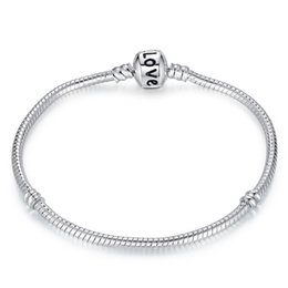 $enCountryForm.capitalKeyWord Australia - 925 Sterling Silver LOVE Letter Bracelets Snake Chains Fit Charm European Beads Bangle Bracelet For Men & Women Jewelry Gift in Bulk