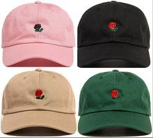 roses cream flower 2019 - Brand New Rose Dad Hat Drake Custom Sanpback Flower Rose Embroidery Curved Summer pink Baseball Cap Women Hip Hop Egg po