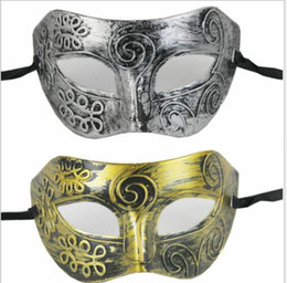 Celebrity Masquerade Ball Australia - New Fashion Halloween Costume Ball Mask Rome Gladiator Masquerade Male Masks Retro Bronze And Silver Venetian Party Stage Prop