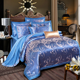 Discount embroidered bedding designs - Colorful Luxury New Design Satin Bedding Sets Embroidery Cotton Bedding Set Queen King Size Bed Sheet Duvet Cover Pillow