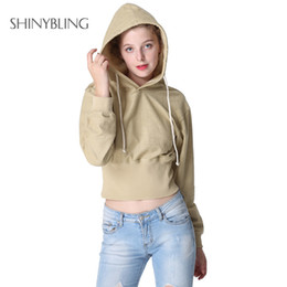 pullover grey women 2019 - Shinybling European Fashion Hooded Tops Women Autumn Long Sleeve Casual Solid Khaki Grey Crop Hoodies Sweatshirt Female