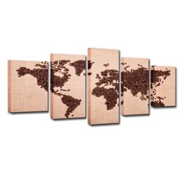 $enCountryForm.capitalKeyWord UK - Canvas Pictures Home Decor For Living Room Wall Art 5 Pieces Coffee Beans World Map Paintings Modern HD Prints Posters