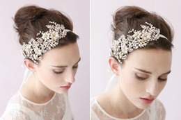 Crystal Heads Australia - Copper wire pearl water drill bridal flower head with Crystal Hair Accessories Bridal Hair