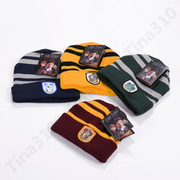 dome badge NZ - Harry Potter Hat Hogwarts Gryffindor Slytherin Ravenclaw Hufflepuff Badge Hat Skull Caps winter Hats Hallowmas Gift 120pcs T1C376