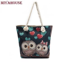 Large Floral Bag Canada - Miyahouse Women Beach Bag Owl Printed Canvas Handbags Large Capacity Ladies Shopping Bag Female Floral Single Shoulder Bolsa
