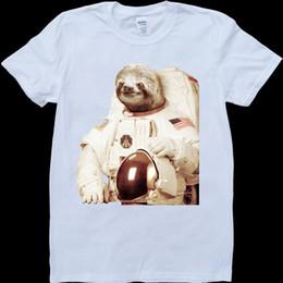 72aa00c0 Sloth Shirt Australia - Sloth Astronaut Funny Men's White, Custom Made T- Shirt