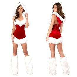 Wholesale santa costume female for sale – halloween Women Sexy Christmas Festival Cosplay Costumes Female Pure Red Corduroy Halloween Uniform Role Playing for Adult Santa Clause