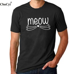 meow shirt NZ - Cbucyi 2018 Fashion Men T-shirt Printed Meow Cat Lover T Shirt Black White Casual Cotton Men's Short Sleeve Size S - Xxl