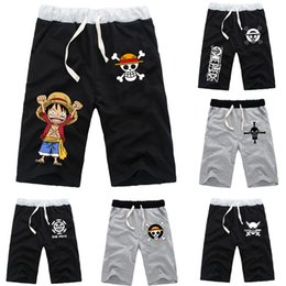 champagne costume men 2019 - Fashion Shorts Men for Anime One Piece Monkey D Luffy Printed Drawstring Shorts Unisex Casual Loose Pants Costume cheap