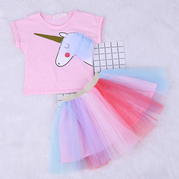 Chinese Style Dress Shirt Canada - Girl Dress Ins Baby Summer Casual Style Cartoon Unicorn T-Shirts+Colorful Veil Dress 2Pcs for Girls Clothes 2-6Years LC733