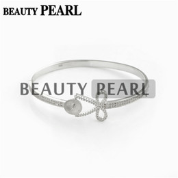 925 sterling big silver bracelets UK - Bangle Settings 925 Sterling Silver Gorgeous Clear Zircon Bowknot Bracelet Base with Big Pearl Seat DIY Jewellery Gift
