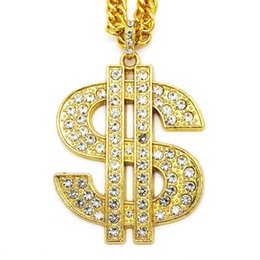 $enCountryForm.capitalKeyWord Australia - Gold Color $ Money Symbol Pendant Hip Hop Bling Crystal Dollar Sign Chain Necklaces Men Women Jewelry Free shipping