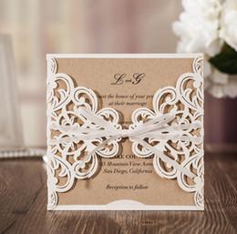 $enCountryForm.capitalKeyWord NZ - 2018 Wedding Invitations Laser Cut Customizable Hollow Crystal Lace Bow Ribbon Wedding Invitation Cards Custom Inner Printed