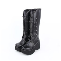 9d2255a3ce0505 Lolita Russian Boots Black Shoes Lace Winter Wedge Heels Lace-Up Leather  Boots Sexy Women Punk Thick Bottom Platform