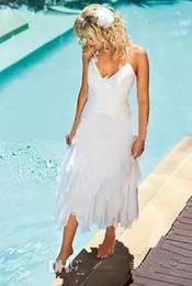 $enCountryForm.capitalKeyWord Australia - Bohemian Beach Chiffon Wedding Dresses Ruffles Halter Neck Cheap Wedding Gowns Summer Boho Style White Chiffon Bridal Gowns Tea Length