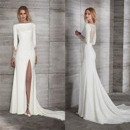 Make Lace Dress NZ - Simple Satin Mermaid Lace Wedding Dresses Long Sleeves Side Split Bateau Neck Wedding Dress Elegant Plus Size Bridal Gowns Custom Made