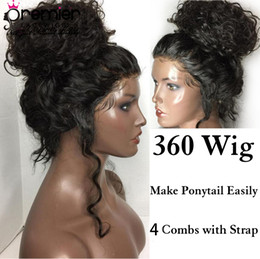 $enCountryForm.capitalKeyWord Australia - Premier Lace Wigs 360 Lace Frontal Wigs Indian Remy Hair Body Wave Pre-plucked Bleached Knots 150% Density Human Lace Wigs