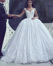 Make Lace Dress NZ - 2018 Saudi Arabic Cap Sleeves Ball Gown Wedding Dresses Said Mhamad Beaded Lace Appliques Custom Made Bridal Gowns