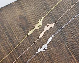 $enCountryForm.capitalKeyWord Australia - Simple 3d Animal small Fox Face head Bracelet Silver Gold Cute Forest Running Fox Bracelets Tiny Fox Tail Bracelets for Women