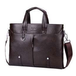 Discount men leather shoulder bag kangaroo - Good Quality 14 Inch Computer Men Briefcase Bags Brand Kangaroo Men Leather Handbag Vintage Shoulder Bag Male Messenger