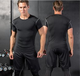 Body Fitness Suit Australia - 2018 men's fitness suit, short sleeved jacket, gym, quick dry tight training, sportswear, body building, sweaty clothes.