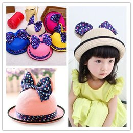 Straw golf hatS online shopping - 2018 Brand New Spring And Hot Sale Summer Mickey Big Butterfly Lovely Hat Baby Sunshade Hat