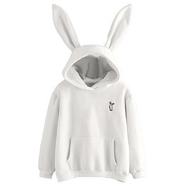 New Rabbit Ears Womens Fashion Girls Super Cute Hoodie Pullovers O-neck Jacket Warm Coat Pullovers Tops Women's Clothing