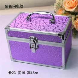 Discount aluminum travel Aluminum Alloy Cosmetic Box Cosmetic Organizer Makeup Bag Organizer Travel Bag Portable Gift Box Make Up Professional Co