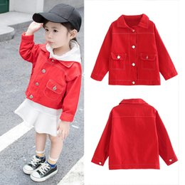 Wholesale Toddler Outerwear NZ - Baby Girls Autumn Red Jacket For Girls Coat Kids Warm Hooded Outerwear Coats Toddler Baby Girl Clothes Age 1-6Y cute