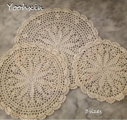 Kitchen Place Mats Australia - NEW round lace cotton table place mat crochet coffee placemat pad Christmas felt drink coaster cup mug dining doily kitchen