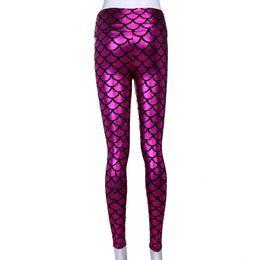 Leggings Shine UK - Strechable Slim Yoga Pants Womens Leggings printing reflective Glitter Lady Mermaid Scales patterns Shining Jogger Gym Pants