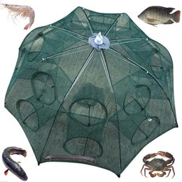 Discount nylon cage - Holes Automatic Fishing Net Shrimp Cage Nylon Foldable Crab Fish Trap Cast*Fashcover Outdoor camping fishing gear porous