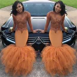 $enCountryForm.capitalKeyWord NZ - 2018 Dust Orange Mermaid Prom Dresses Long Sleeves Beads Appliques Illusion Sequins Ruched Ruffle Evening Gown Party Wear