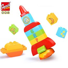 Large Building Blocks UK - GOROCK 18pcs Large Bricks Space Shuttle Rocket Building Blocks Kids BABY Educational Toys Childhood Accompany Children Gifts