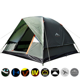 Fiberglass double doors online shopping - Outdoors Anti Torrential Rain Family Camping Tent Portable Double Deck Four People Tourist Tents And Shelters Waterproof za W