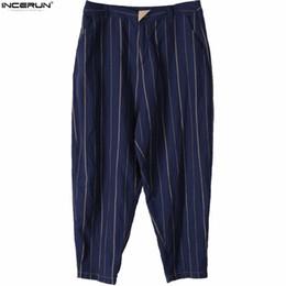 Discount ankle length capris INCERUN S-5XL Casual Harem Pants Hiphop Ankle-Length Men Stripe Pockets Straight Pants Wide Legs Trousers Loose Plus Siz