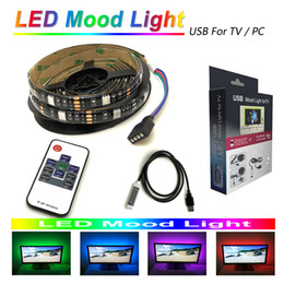 Rgb Wireless Controller Australia - LED mood light strips 5050 RGB 200cm 60 LEDs for TV PC monitor with RF wireless 10key remote controller 5V usb powered