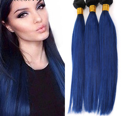 Medium Blonde Hair Dye NZ - Wholesale Price high quality Ombre Hair Extension 8A Straight Weave Color T1B blue Human vrigin Hair Weave