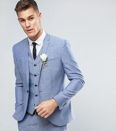 Ivory Linen Suit Canada - Blue Linen Men Suits 2018 Wedding Slim Fit Groom Tuxedos Handsome Bridegroom Best Men Blazers Groomsmen Jacket Party Prom Wear 3 Pieces