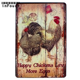 vintage tins NZ - Happy Chickens Lay More Eggs Wall Decor Metal Sign Vintage Home Decor Tin Sign Retro Metal Plaque Cool Plate Poster