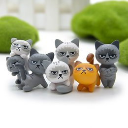 japan cat toy NZ - 6pcs set 3-4cm Cute Lovely Unhappy Cats Action Figure Toy Children Toy Baby Room Decoration Kids Gifts Micro Landscape Dolls