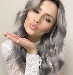 $enCountryForm.capitalKeyWord Australia - 9A Grade Hair Wig Brazilian Glueless Full Lace Wigs #1b Grey Ombre Body Wave Human Hair Lace Front Wigs Black Women