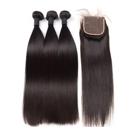 Chinese  10a Grade Brazilian Virgin Hair 3 Piece with Lace Closure Natural Color 100% Human Hair Wholesale Bundles Virgin Hair Free Shipping Hot Sell manufacturers