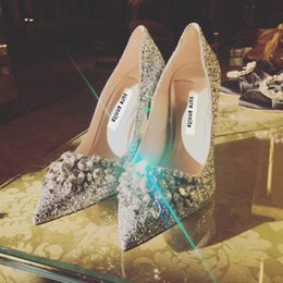 2018 New Glitter Wedding Shoes Silver Bridal Evening Party Shoes Cheap  Crystal Sexy Woman Pumps High Heels Fashion Bridal Shoes 8cm 5cm 8e64b08055a5